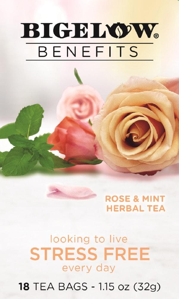 Kroger Bigelow Benefits Rose Mint Herbal Tea Bags 18 Ct
