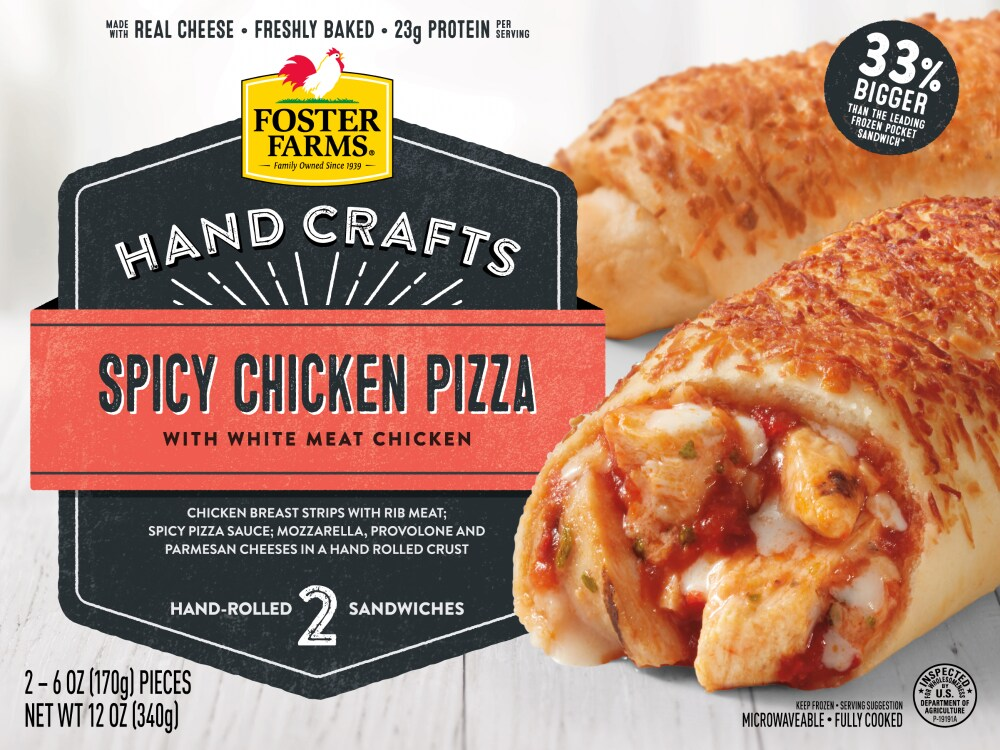 Foster Farms Spicy Chicken Pizza Hand Rolled Sandwiches 2 Ct 6 Oz Fry S Food Stores