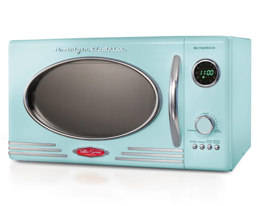 Kroger Nostalgia Retro 800 Watt Countertop Microwave Oven Aqua 0 9 Cu Ft