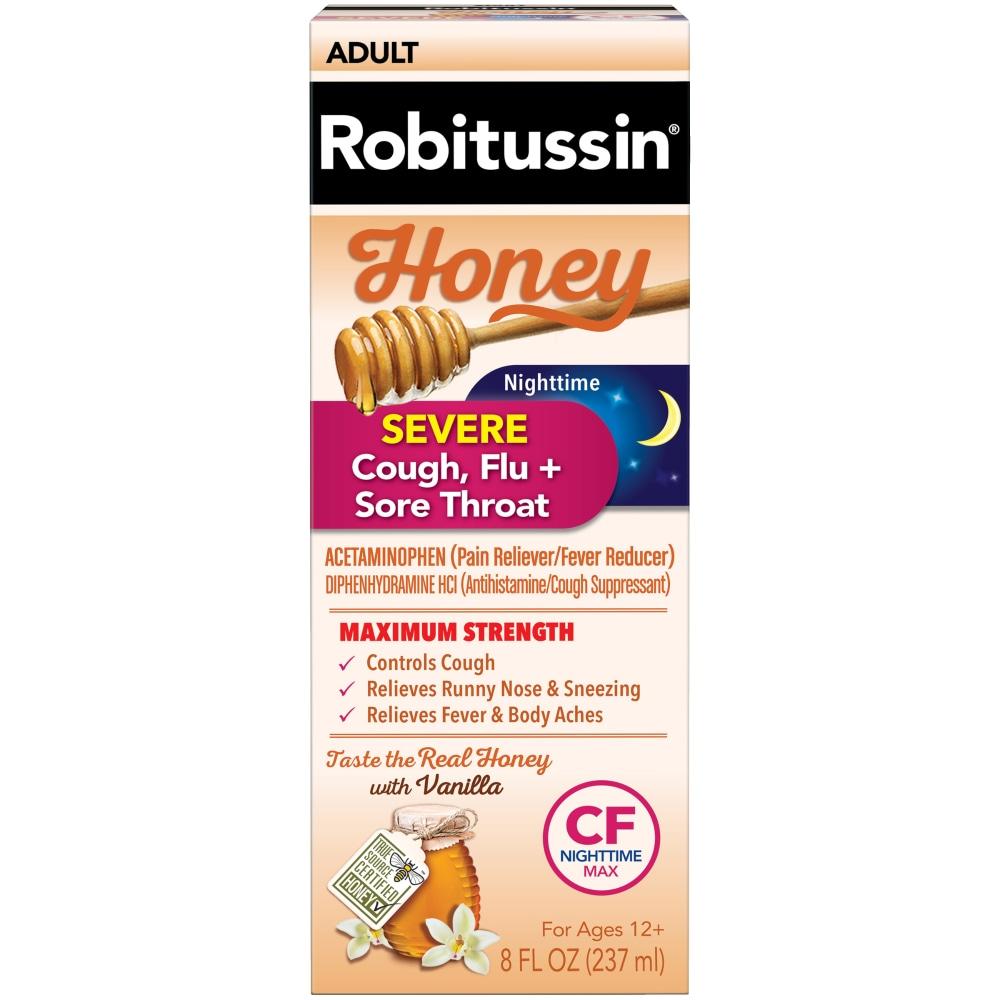 Kroger - Robitussin Honey Maximum Strength Nighttime Severe Cough Flu & Sore  Throat Liquid, 8 fl oz