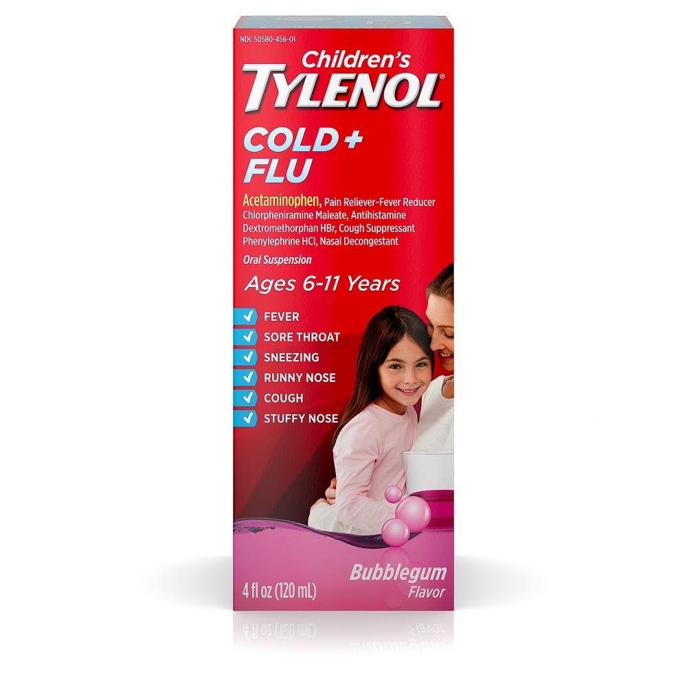 Children S Tylenol Cold Flu Relief Bubblegum Flavor Oral Suspension 4 Fl Oz