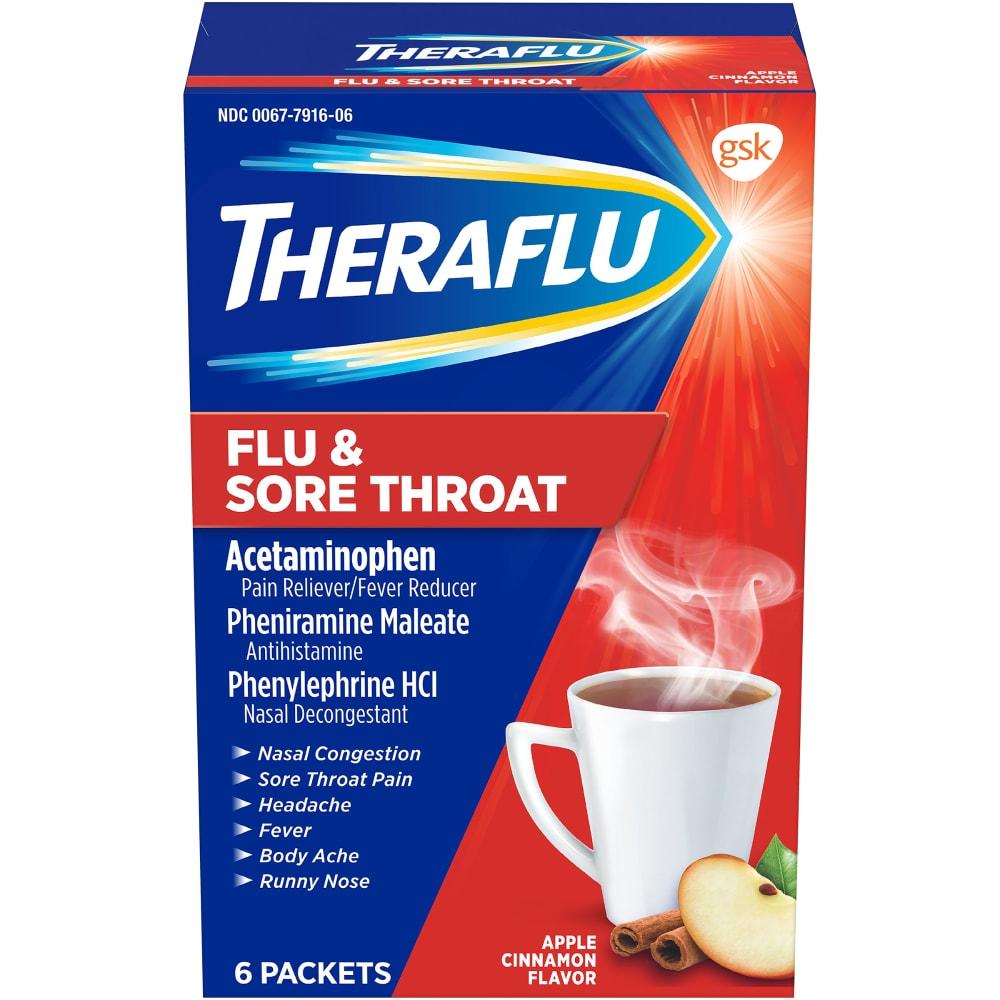 Theraflu Flu Sore Throat Apple Cinnamon Powder 6 Ct