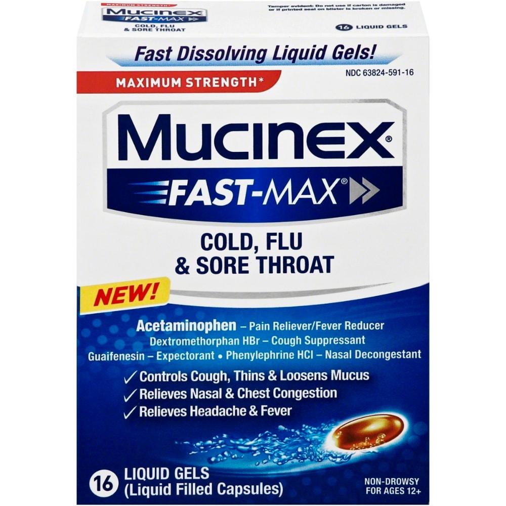 Mucinex Fast Max Cold Flu And Sore Throat Liquid Gels 16 Ct