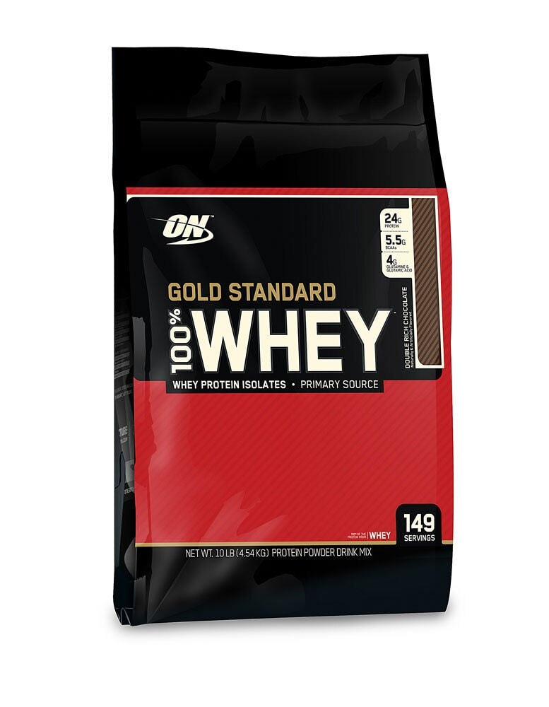 Food 4 Less Optimum Nutrition Gold Standard 100 Whey Protein Isolates Double Rich Chocolate 10 Lbs