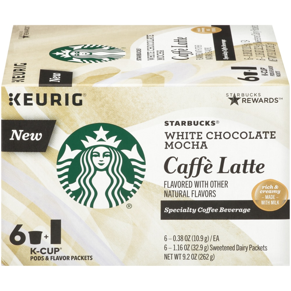 Starbucks White Chocolate Mocha Caffe Latte K Cup Pods 6 Ct