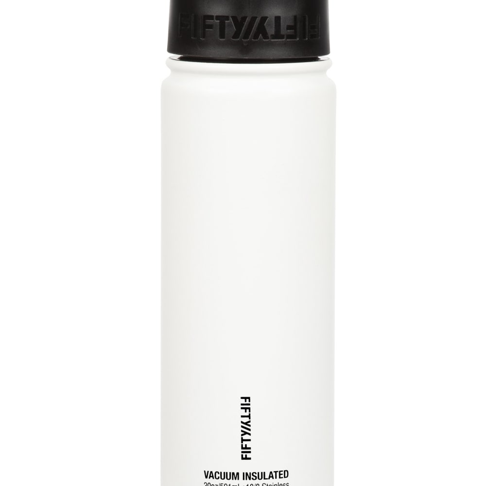 Stainless Steel Double Wall Vacuum Insulated Caf/é Water Bottle Flip Cap w//Wide Mouth Fifty//Fifty