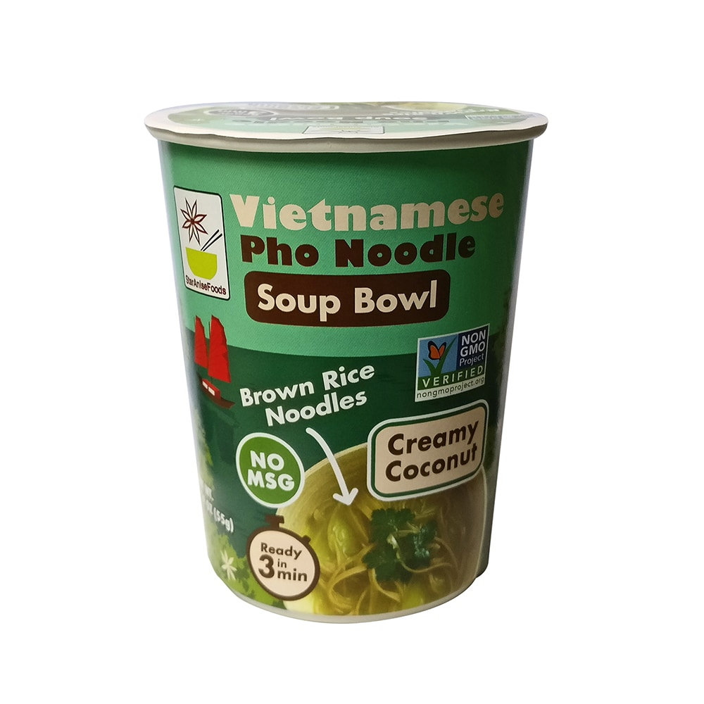 star anise vietnamese pho noodle creamy coconut soup bowl perspective front