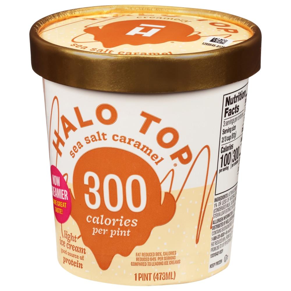 Halo Top Sea Salt Caramel Ice Cream Perspective Front