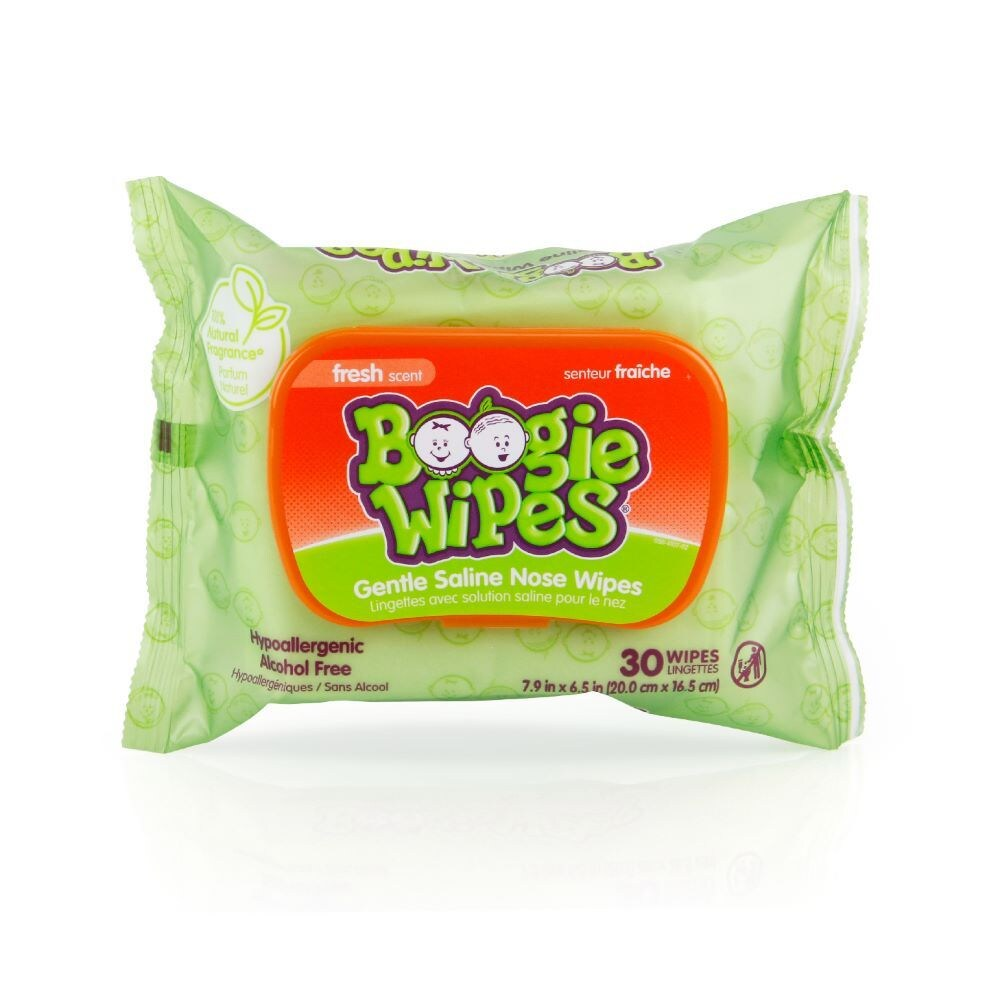 30 Ct 2 Pack Boogie Wipes Natural Saline Hypoallergenic Nose Wipes Fresh Scent